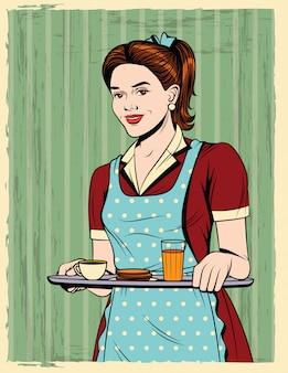 Carte postale vintage avec jeune fille en tablier servant un petit déjeuner
