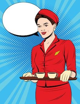 Carte postale vintage avec jeune fille en uniforme rouge au service des passagers