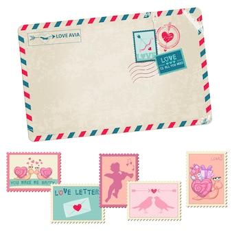 Carte postale vintage de lettre d'amour