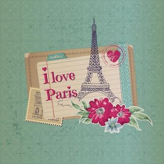 Carte postale vintage de paris avec timbres