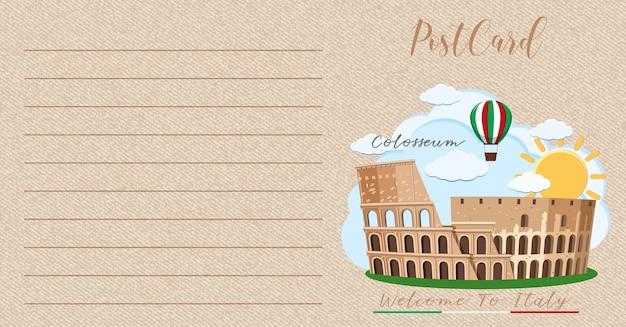Carte postale vintage vierge avec colisée italie