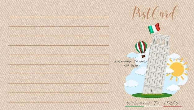 Carte postale vintage vierge avec monument de l'italie