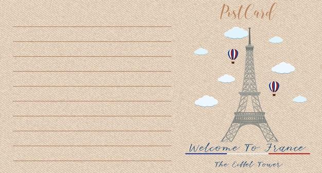 Carte postale vintage vierge avec tour eiffel monument de la france