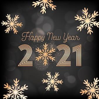 Carte postale de voeux de nouvel an, invitation ou conception promotionnelle, carte de bonne année avec des flocons de neige dorés et des paillettes sur fond noir flou avec affiche de typographie dorée 2021. illustration vectorielle