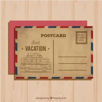 Carte postale de voyage dans le style vintage