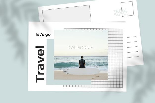 Carte postale de voyage de grille minimaliste