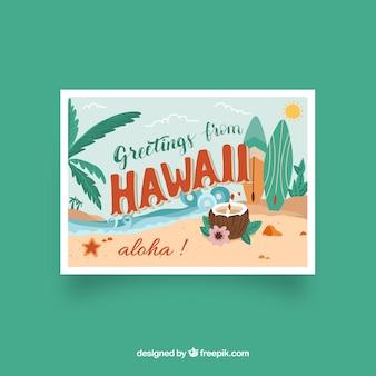 Carte postale de voyage avec hawaii dans un style dessiné à la main
