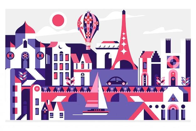 Carte postale de voyage avec des monuments célèbres de paris, france