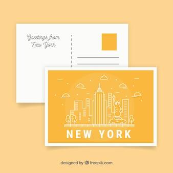 Carte postale de voyage avec new york city en monolines