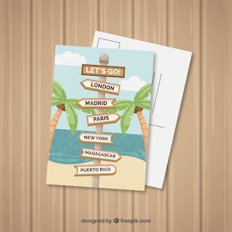 Carte postale de voyage avec plage