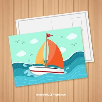 Carte postale de voyage avec voilier