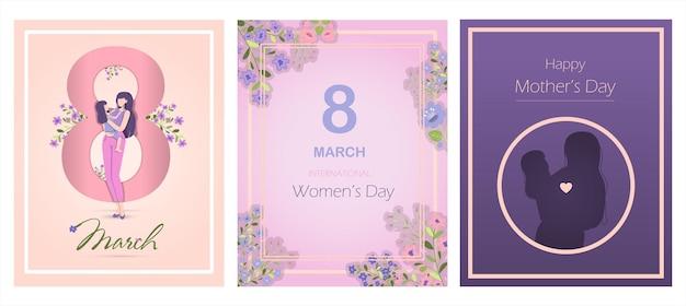Carte pour l'illustration vectorielle de la fête des mères internationale pour mars avec fleurs et salutations ba...