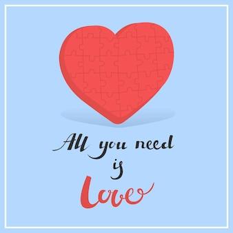 Carte pour l'illustration vectorielle de la saint-valentin tout ce dont vous avez besoin, c'est de l'amour