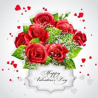Carte pour la saint valentin coeur de roses rouges