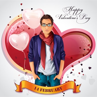 Carte pour la saint valentin avec des coeurs et des ballons