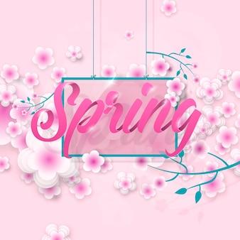Carte pour la saison de printemps avec cadre et fleurs offre promotionnelle avec décoration de fleurs de printemps