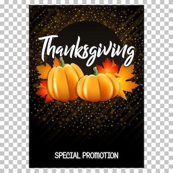 Carte pour thanksgiving avec des citrouilles et des feuilles d'érable.