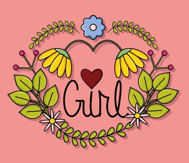 Carte power girl avec décor floral
