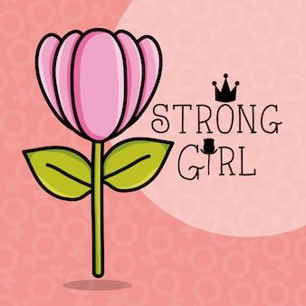 Carte power girl avec décoration de fleur de rose