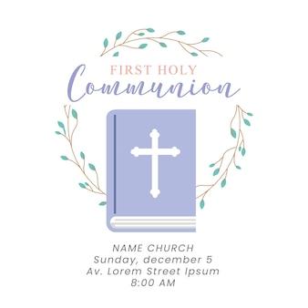 Carte de première communion avec bible et couronne de feuilles. illustration vectorielle