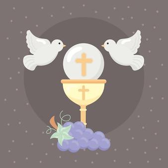 Carte de première communion avec calice