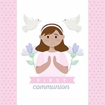 Carte de première communion avec fille