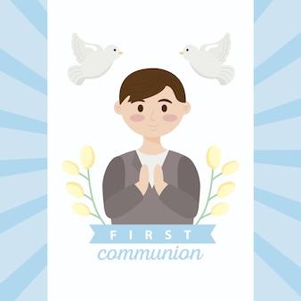Carte de première communion avec garçon