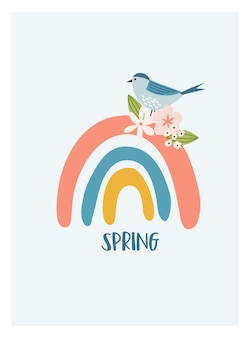Carte printanière boho scandinave avec fleurs printanières, branches fleuries, oiseaux et papillons. bon pour l'affiche, la carte, l'invitation, le dépliant, la bannière, la pancarte, la brochure. illustration vectorielle.