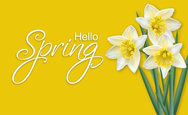 Carte de printemps bouquet de fleurs de narcisse