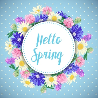 Carte de printemps dessiné à la main avec une couronne de fleurs sauvages.