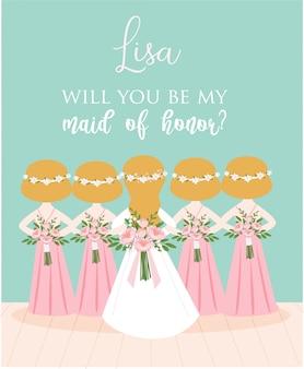 Carte de proposition de demoiselle d'honneur pour la conception de modèle de carte d'invitation de mariage