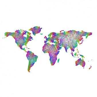 Carte psychédélique du monde