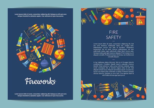 Carte pyrotechnie de dessin animé, modèle de flyer pour illustration de la compagnie ou du parti de divertissement de feux d'artifice
