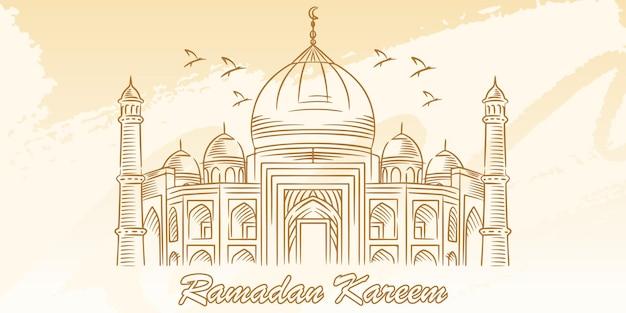 Carte de ramadan kareem avec mosquée