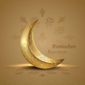 Carte de ramadan kareem de voeux islamique avec croissant d'ornement