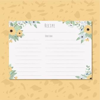 Carte De Recette Avec Un Arrangement Floral Jaune Vecteur Premium