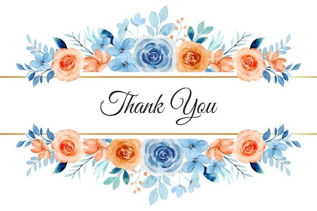 Carte de remerciement avec aquarelle de bordure de fleur rose