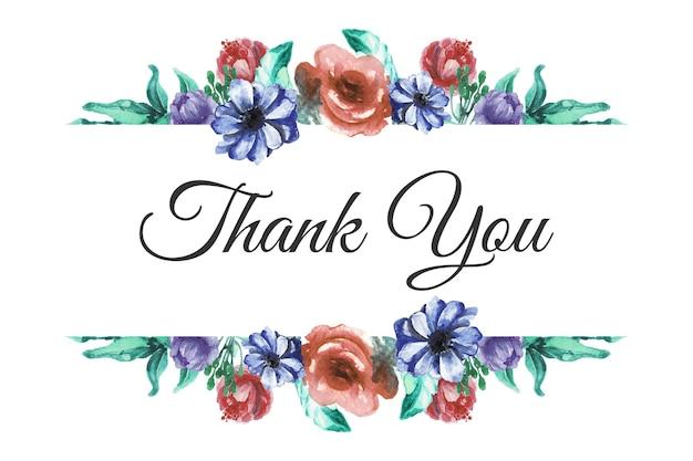 Carte de remerciement aquarelle florale dessinée à la main