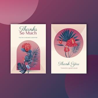 Carte de remerciement avec aquarelle florale de pampa