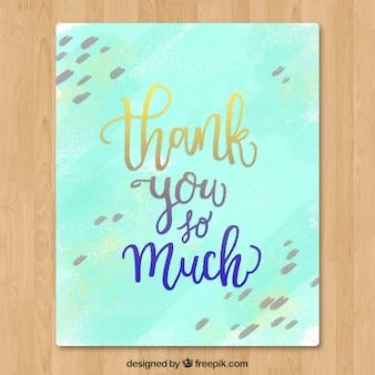 Carte de remerciement d'aquarelle