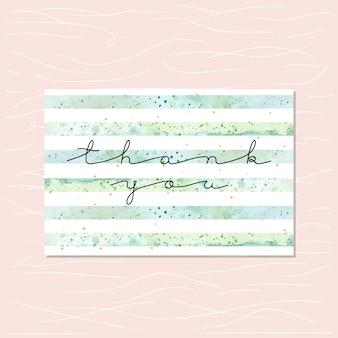 Carte de remerciement avec des bandes vertes aquarelles