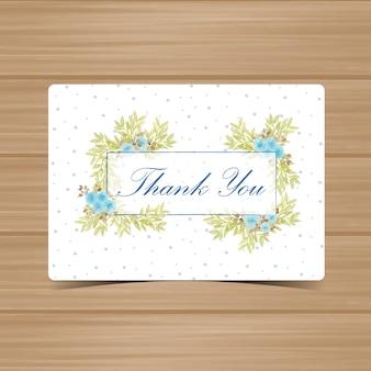 Carte de remerciement avec de belles roses bleues