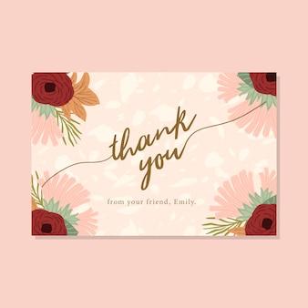 Carte de remerciement avec des bords floraux d'automne