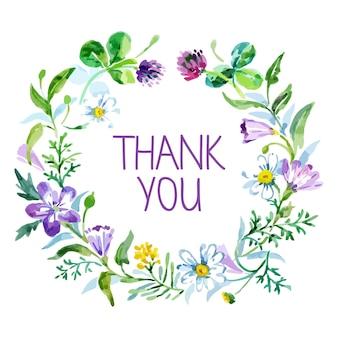 Carte de remerciement avec bouquet floral aquarelle. illustration vectorielle