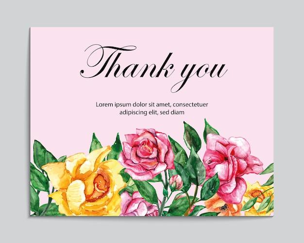 Carte de remerciement avec cadre de fleur aquarelle vintage