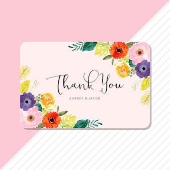 Carte de remerciement avec cadre floral aquarelle tropical