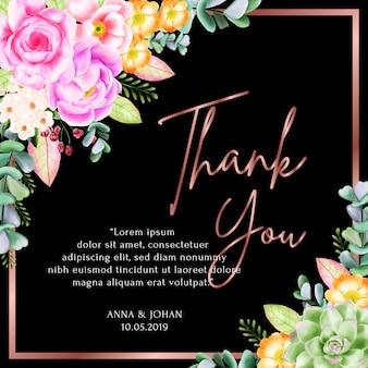 Carte de remerciement cadre floral beauté