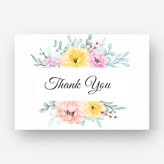 Carte de remerciement avec cadre jaune fleur rose