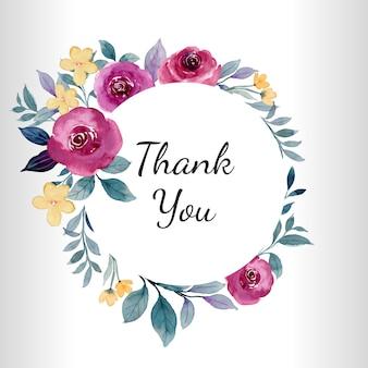 Carte de remerciement couronne florale rose bordeaux à l'aquarelle