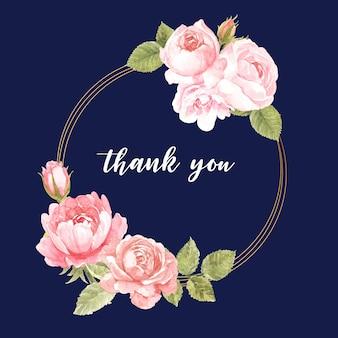 Carte de remerciement avec un design de couronne de rose rose